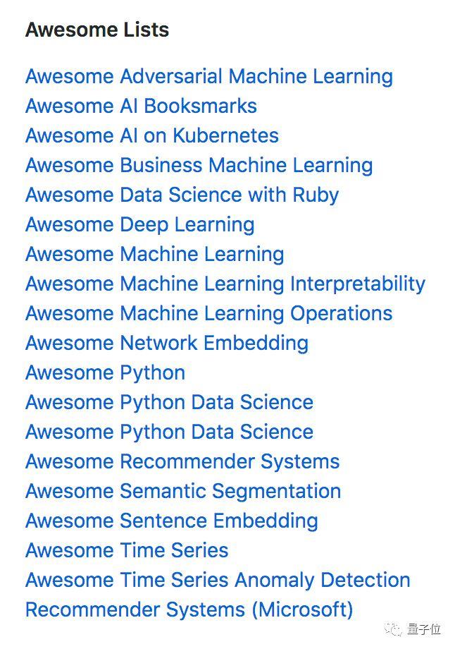 Python机器学习资源菜单,选库找工具不愁,GitHub精选列表都在这里了_创