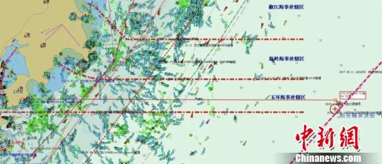 事故发生地暗示图。浙江海事 供图