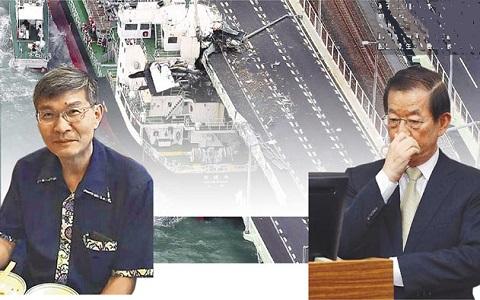 """燕子台风重创日本衍生关西机场事件,台""""驻日代外""""谢长廷(右)认为是""""伪音信""""造成""""驻大阪做事处处长""""苏启诚(左)轻生,苏妻昨发外声明清亮。(图片来自台媒)"""