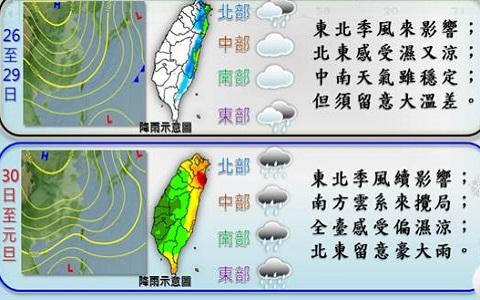 台湾气象部分天气预报。(图片来自台媒)