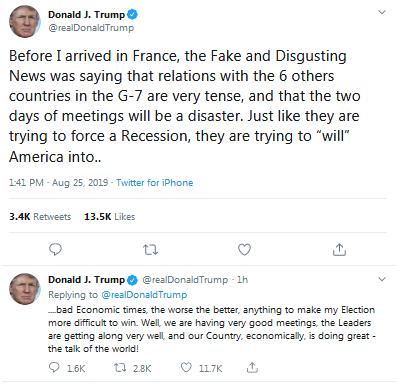 """特朗普推特又怼""""假新闻"""":没有跟G7国家关系不好"""