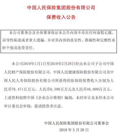 中国人保:前2月原保险保费收入超1300亿元