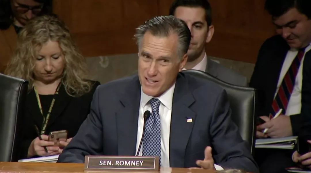 ▲共和党参议员罗姆尼在听证会上发言(视频截图)