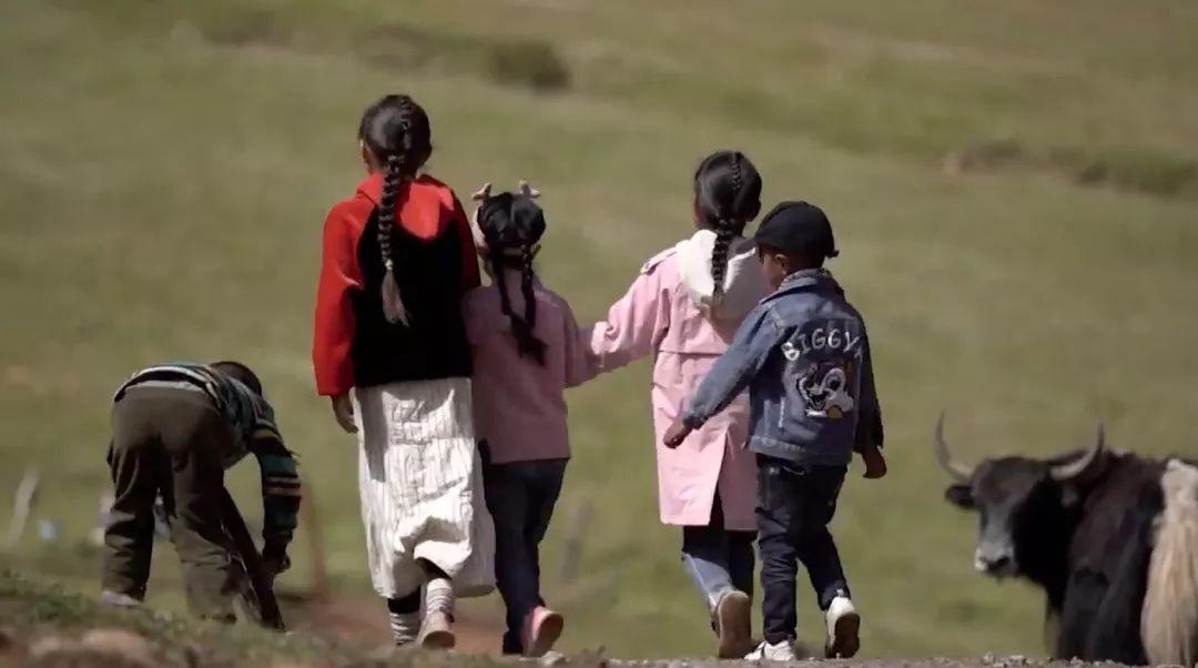 ▲牧民的孩子在玩耍(报道截图)