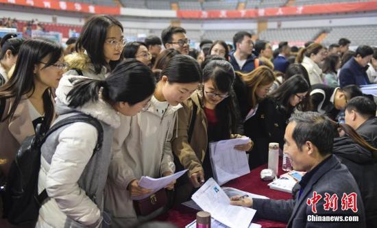 """资料图:11月29日,大学生参加就业""""双选会""""找工作。中新社记者 张勇 摄"""