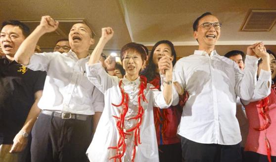 韩国瑜、洪秀柱、朱立伦同台:团结 让蔡英文下台