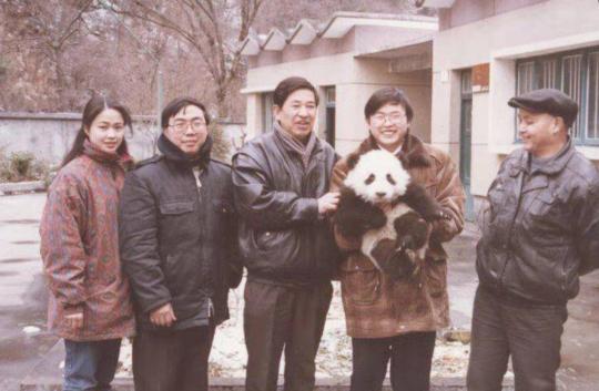 """赖炳辉和中国大熊猫保护研究中心首只人工繁育大熊猫""""蓝天""""合影"""