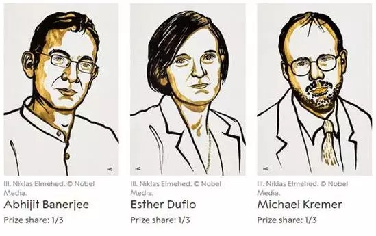▲ 2019年诺贝尔经济学奖得主:从左到右分别为阿比吉特・班纳吉(Abhijit Banerjee)、埃丝特・迪弗洛(Esther Duflo)和迈克尔・克雷默(Michael Kremer)