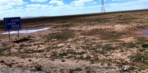 青藏公路,剛剛進入可可西里區域內,公路一側的垃圾即隨處可見。 2019年8月5日 金冠時 攝