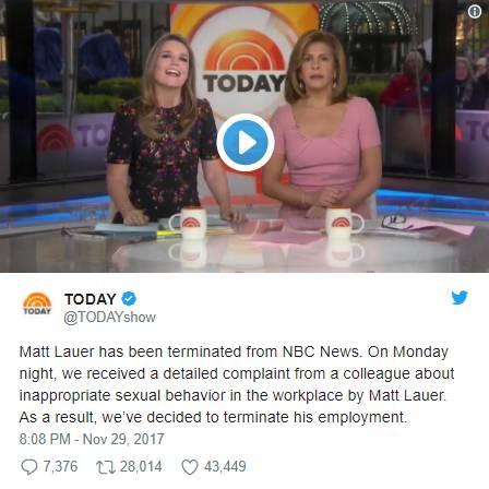 ▲《今日秀》栏目宣布马特·劳尔已被NBC解雇