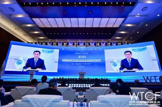 上海合作组织秘书长弗拉基米尔•诺罗夫通过视频致辞