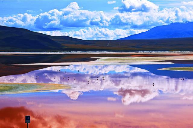 玻利维亚奇异的高原红湖