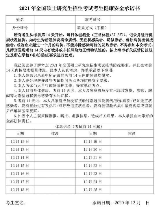 2021年全国硕士研究生招生考试上海考区防疫提示