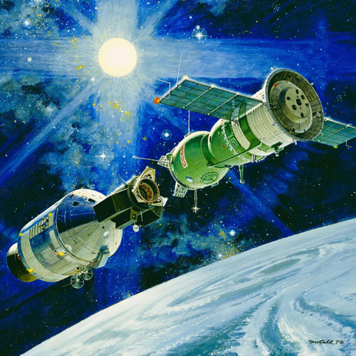 1974年,艺术家罗伯特•麦考尔(RobertMcCall)描绘了美国和前苏联宇宙飞船空中对接的情景。