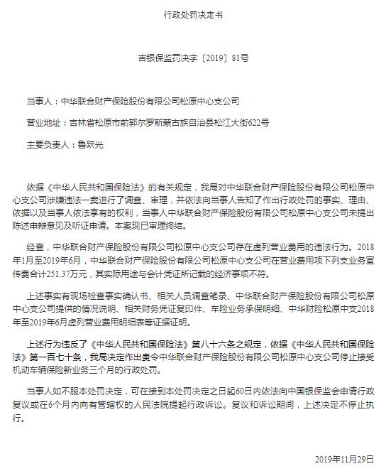 中华联合财险松原中支因虚列营业费用被罚