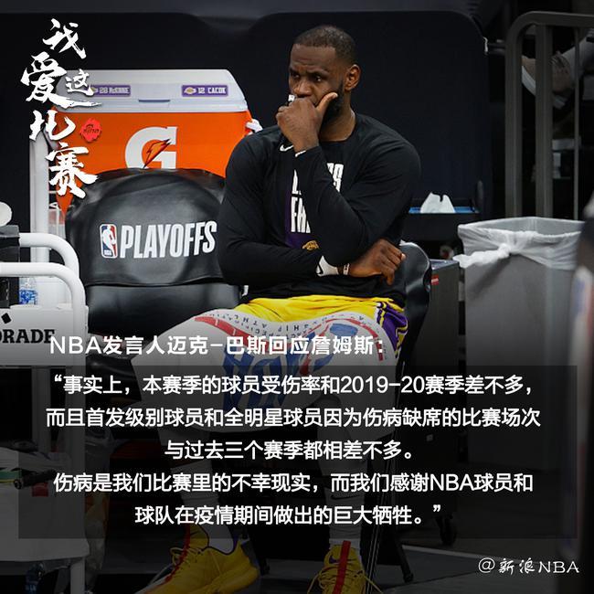 NBA联盟发言人回应詹姆斯:本赛季受伤率不高