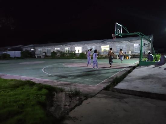猪场生活区的篮球场。 受访者供图